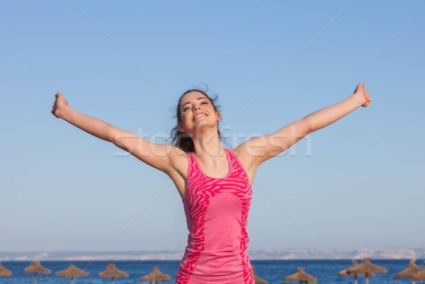happy woman on vacation in mallorca Stock photo © godfer