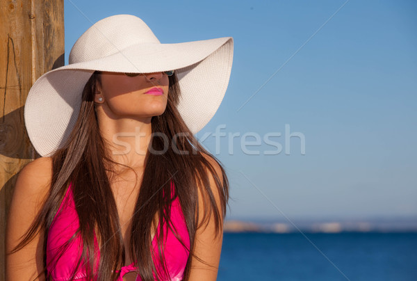 Estate moda donna spiaggia Hat grande Foto d'archivio © godfer