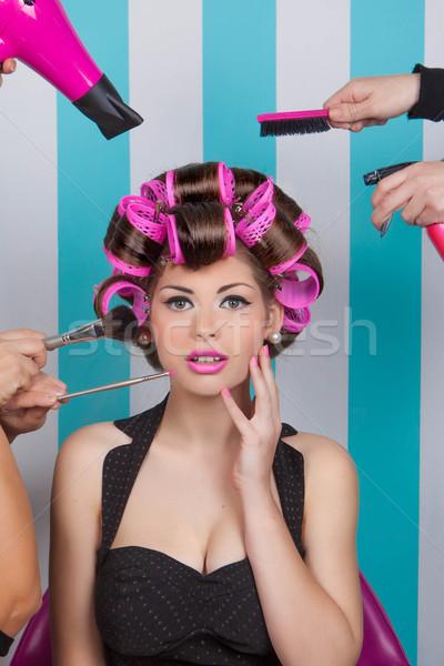 retro pin up woman in beauty salon Stock photo © godfer