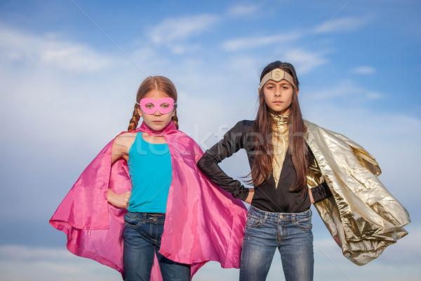 Stockfoto: Meisje · macht · super · helden · kinderen · gelukkig