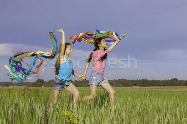 Egészséges boldog gyerekek játszanak kint gyerekek jókedv Stock fotó © godfer