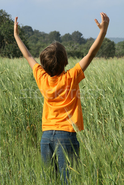 happy summer child arms raised to the sky and sun Stock photo © godfer