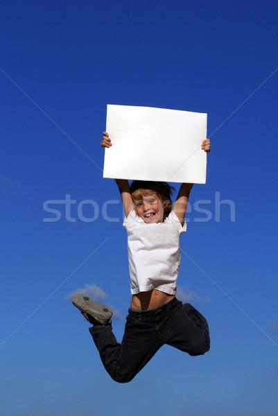 Kid signe ciel papier Photo stock © godfer