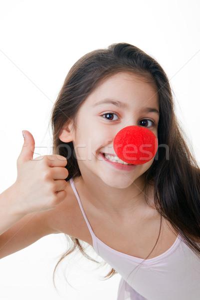Piros orr remek gyermek bohóc lány Stock fotó © godfer