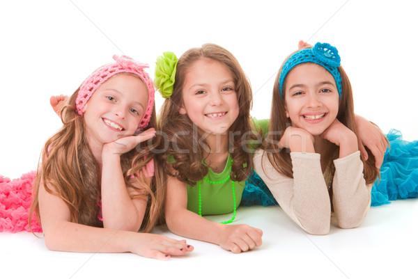 Foto stock: Feliz · crianças · sorridente · grupo · crianças · jovem