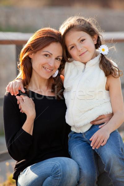 Anya lánygyermek család szeretet mosoly jókedv Stock fotó © godfer