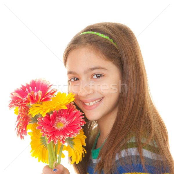 child with bunch of flowers Stock photo © godfer