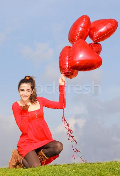 Stock fotó: Valentin · nap · lány · szeretet · csók · tinédzser