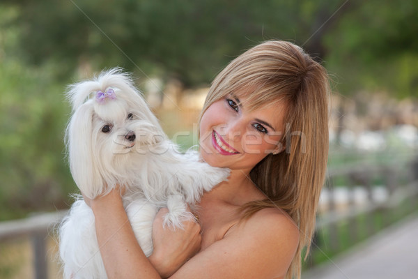 love of dogs woman with pet Stock photo © godfer