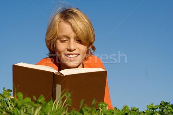 Stock fotó: Boldog · gyermek · olvas · könyv · kint · fű