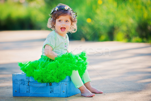 счастливым небольшой девушки ребенка лет весны Сток-фото © godfer