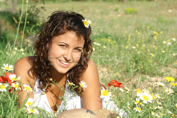 beautiful summer girl with perfect white, teeth and smile Stock photo © godfer