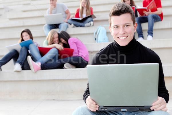 Fiú egyetemi hallgató laptop notebook diák férfiak Stock fotó © godfer