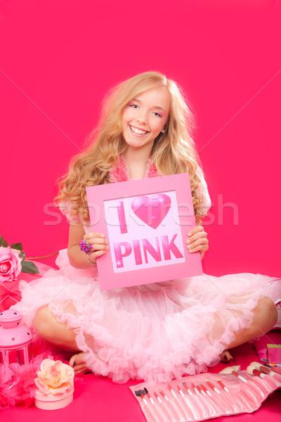 Divat tini rózsaszín smink kellékek lány Stock fotó © godfer