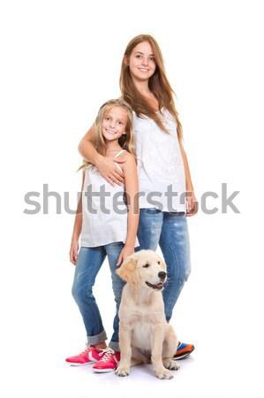Kinderen gouden labrador retriever puppy familie kind Stockfoto © godfer
