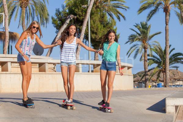 Meninas férias mallorca feliz primavera Foto stock © godfer