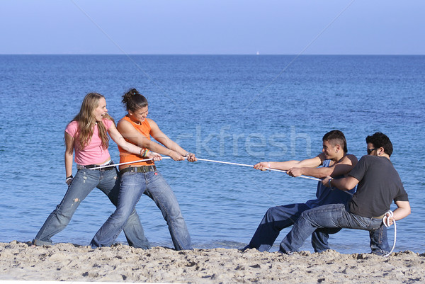 tug of war, teens playing on beach on summer vacation or spring break Stock photo © godfer
