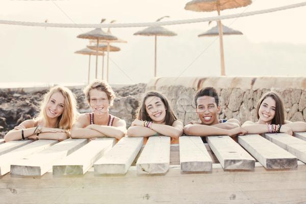 Stock foto: Gruppe · Sommer · Kinder · Frauen · Spaß