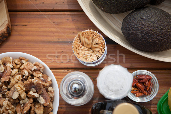vegan and vegetarian fruit, vegetables and nuts,  Stock photo © godfer