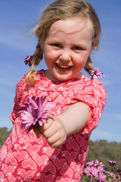 Heureux été Kid cadeau fleur fleurs Photo stock © godfer