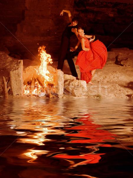 Spaans flamenco dansers Spanje paar Stockfoto © godfer