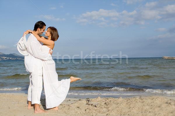 Stock fotó: Szerető · fiatal · pér · tengerpart · esküvő · nászút · nő