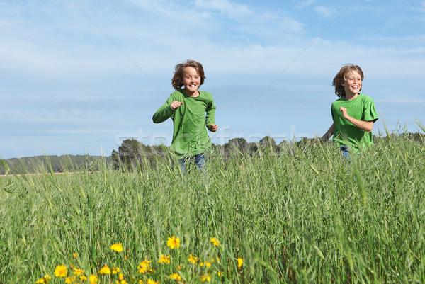 Zdjęcia stock: Zdrowych · dopasować · dzieci · uruchomiony · dziedzinie · lata