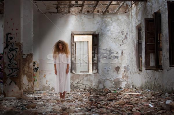 Szellem nő elhagyatott ház lány háttér Stock fotó © godfer
