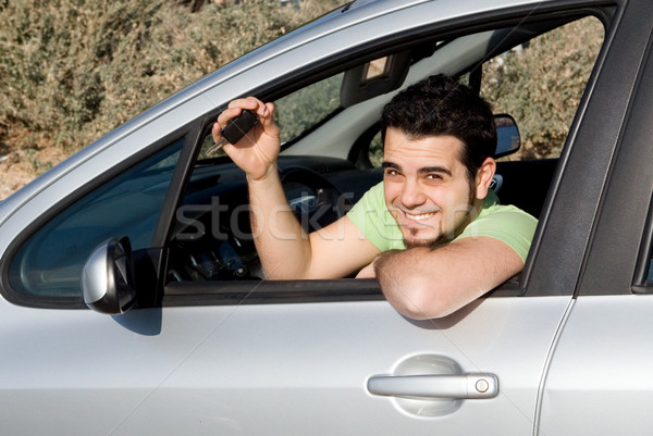 young man with key to new or rental car Stock photo © godfer