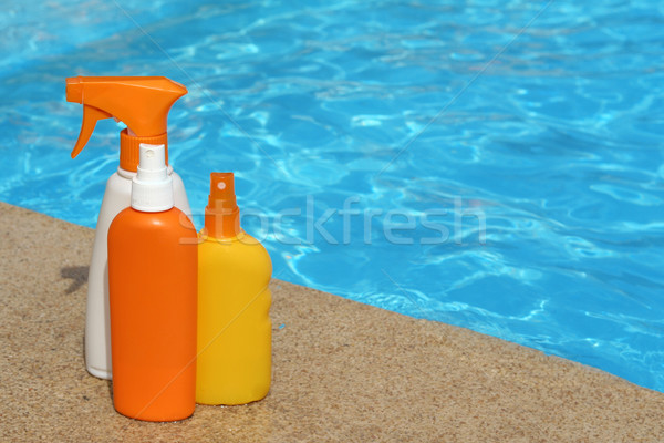 üvegek nap elleni védelem krém testápoló nyári vakáció Stock fotó © godfer