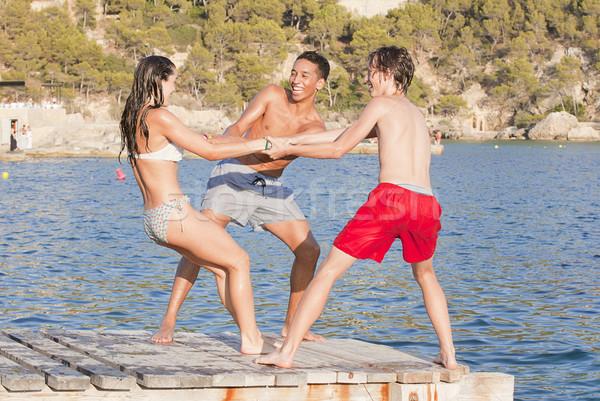Jonge tieners majorca vakantie vrouwen kinderen Stockfoto © godfer