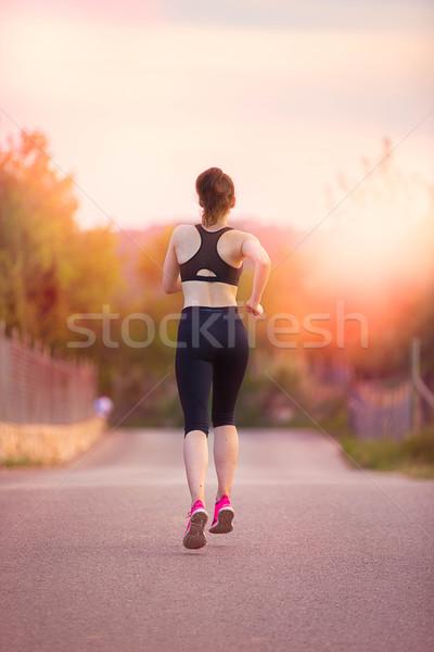 Nő jogging fut fitt egészséges nők Stock fotó © godfer