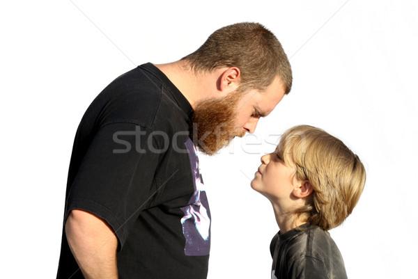 Család konfrontáció apa fia gyerekek arc férfi Stock fotó © godfer