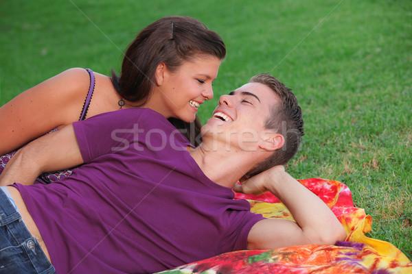 Boldog fiatal pér kint friss lélegzet férfi Stock fotó © godfer