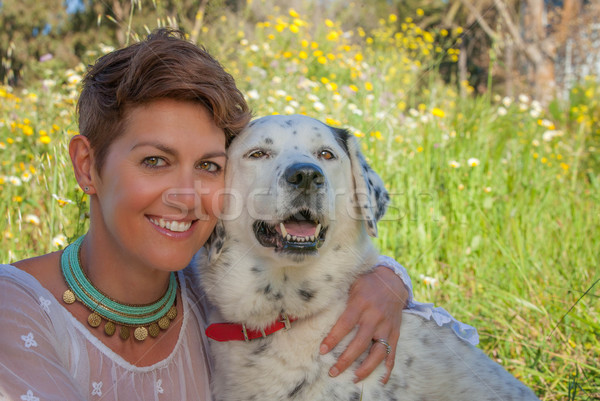 owner with mixed breed dog Stock photo © godfer