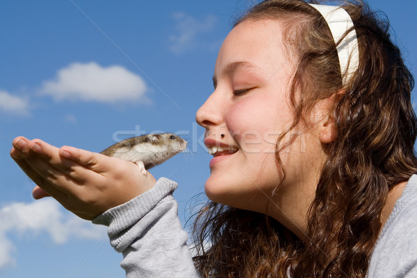 kid with pet hamster Stock photo © godfer