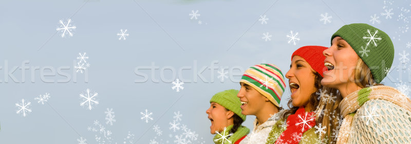 Groupe Noël vacances enfants neige adolescents Photo stock © godfer