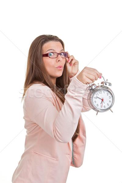 Foto d'archivio: Donna · clock · ragazza · studente · sfondo