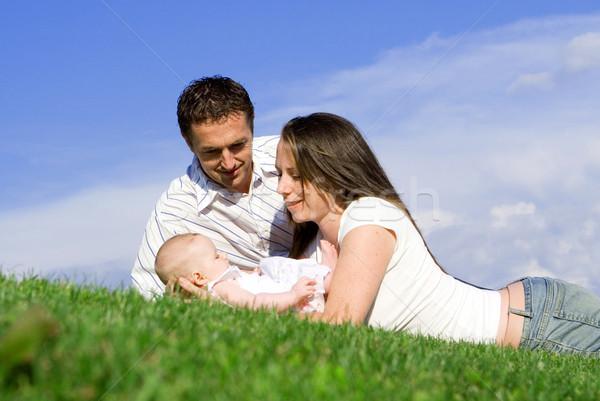 Boldog egészséges család szülők baba lány Stock fotó © godfer
