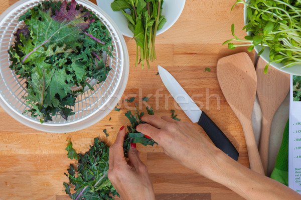 preparing organic vegetables kale Stock photo © godfer