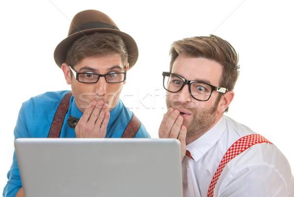 Сток-фото: компьютер · глядя · ноутбука · смешные · бизнеса · интернет