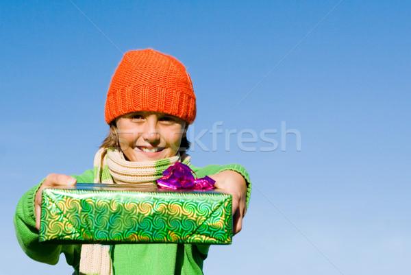 Gyermek tart ajándék buli gyerekek jókedv Stock fotó © godfer
