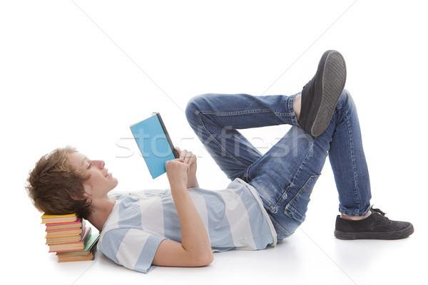 Stock fotó: Gyerek · olvas · könyv · gyermek · diák · fiú