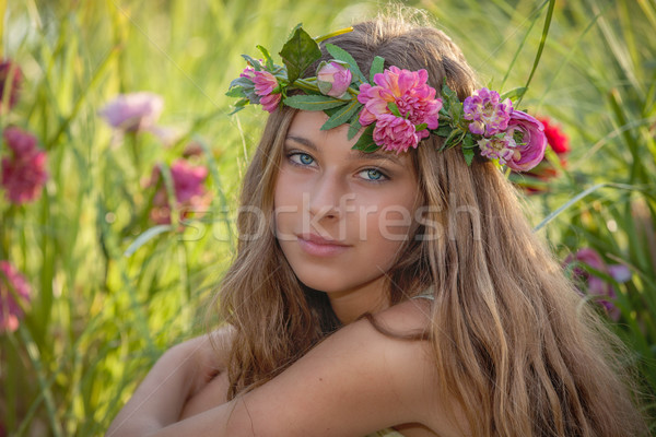 natural beauty and health, woman with flowers in hair.  Stock photo © godfer