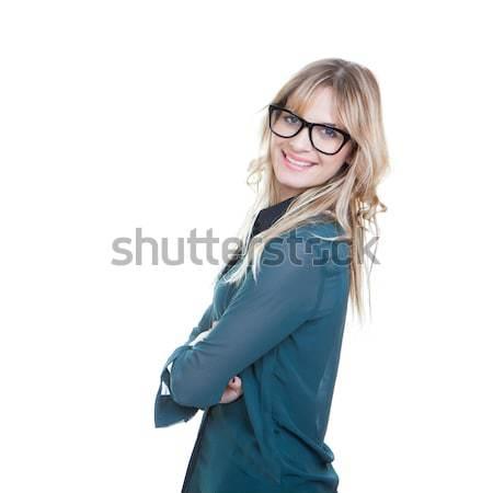 Stock fotó: Nő · karok · összehajtva · boldog · mosolyog · háttér