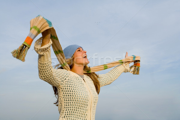 young woman singing her praise outdoors Stock photo © godfer