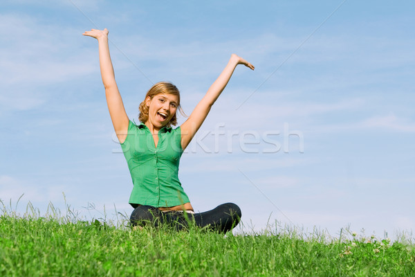 happy healthy young woman outdoors in summer Stock photo © godfer