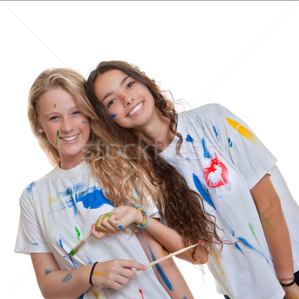 art class with paint and brushes Stock photo © godfer