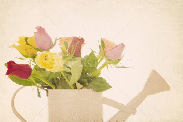 retro filtered roses flower arrangement Stock photo © godfer