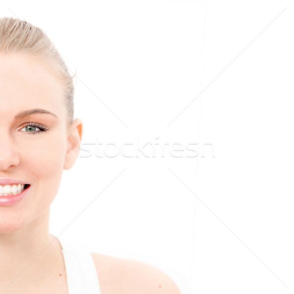 half portrait of beutiful skin,teeth and eyes Stock photo © godfer